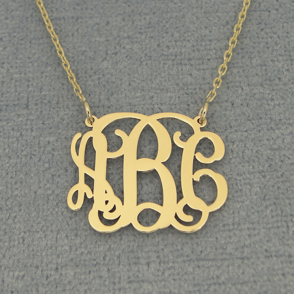 Small 14kt Gold 3 Initials Monogram Necklace 3 4 inch wide