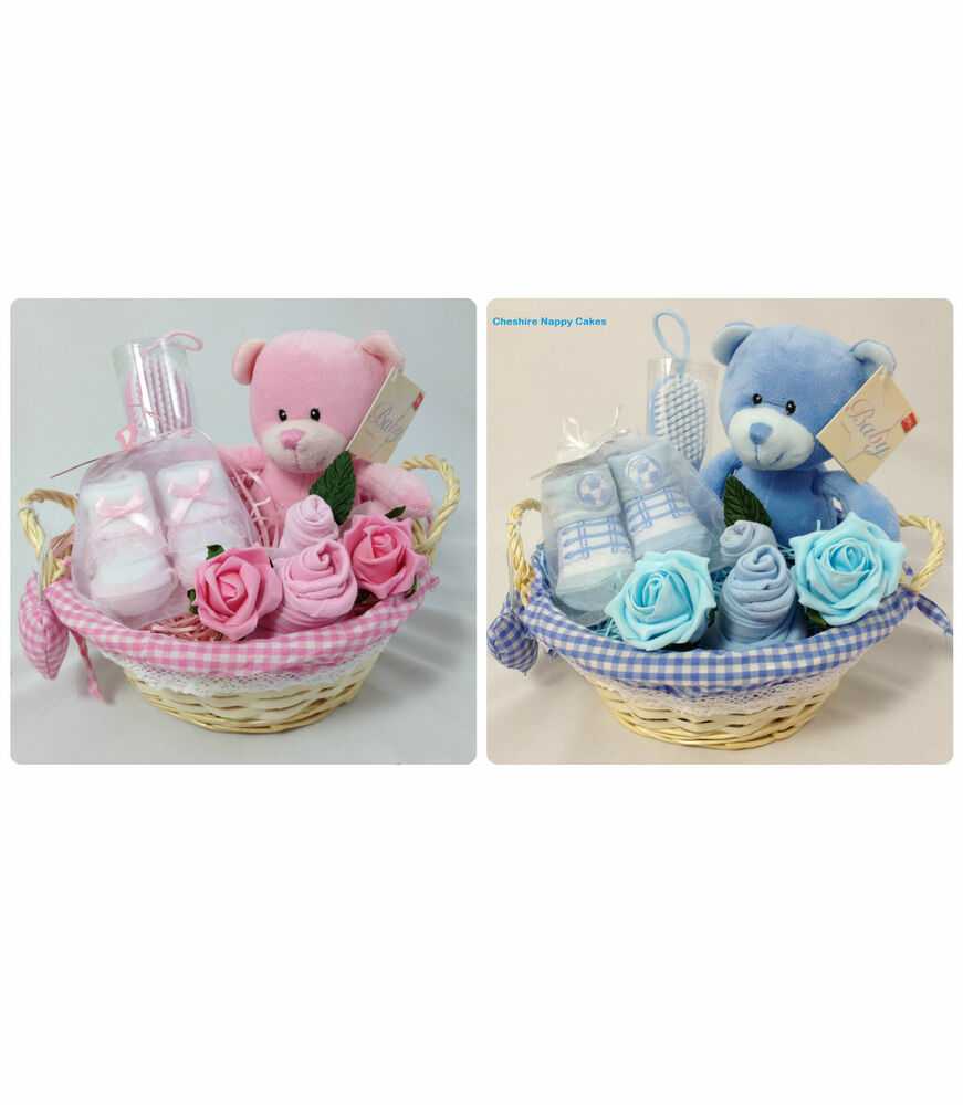 Baby Gift Baskets Rockhampton : Pink or blue newborn baby gift basket hamper nappy cake