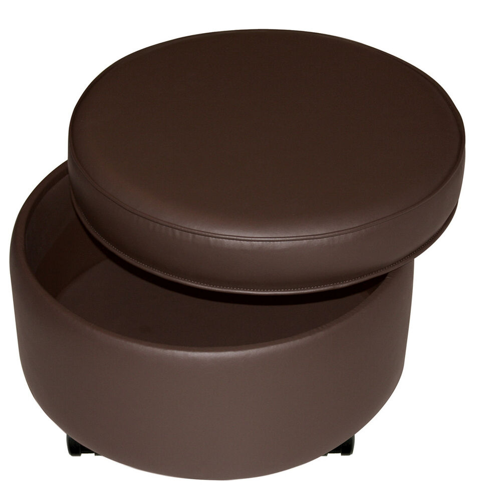Large Round Storage Ottoman Footstool With Casters Dark