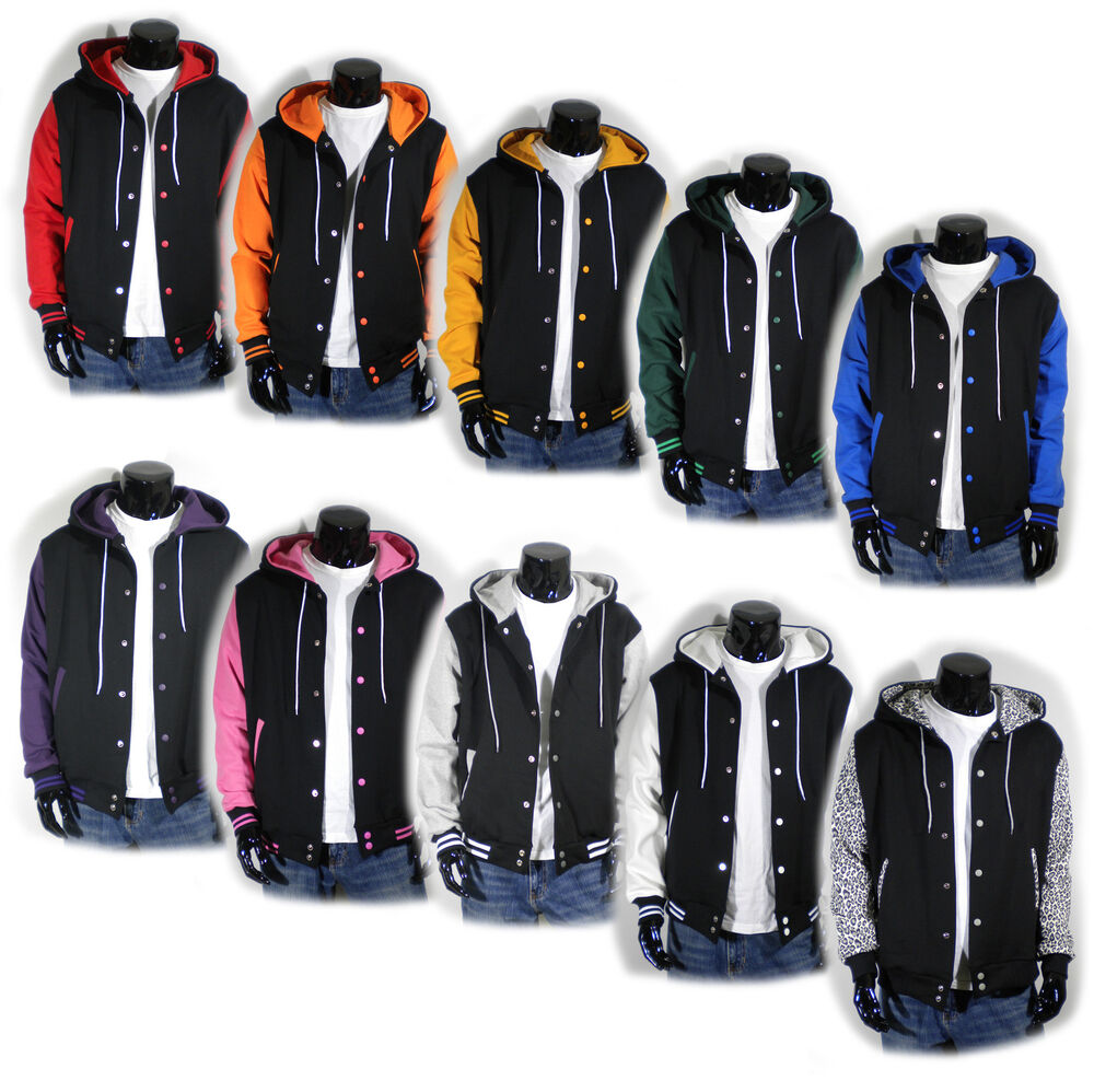 Mens Varsity Letterman Hoodie Baseball Jacket Quality CottonS M L ...