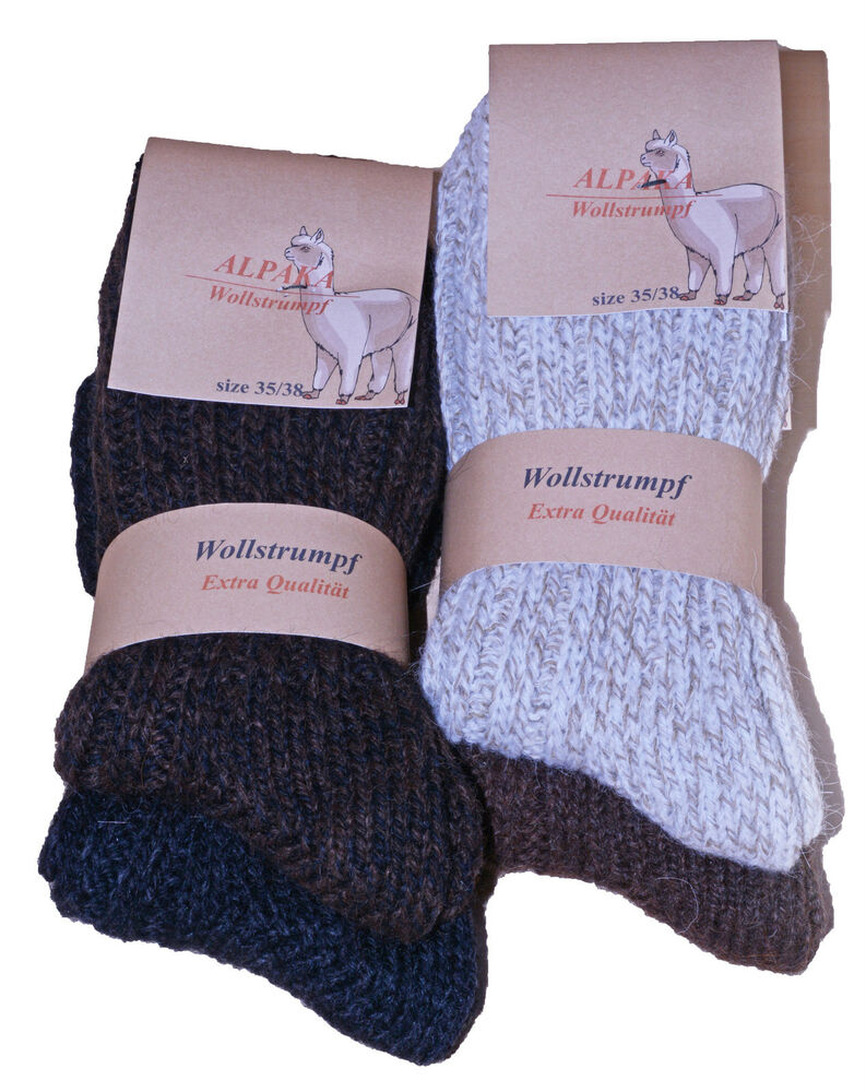 4 paar wollsocken wintersocken dicke warme alpaka socken damen herren ebay. Black Bedroom Furniture Sets. Home Design Ideas