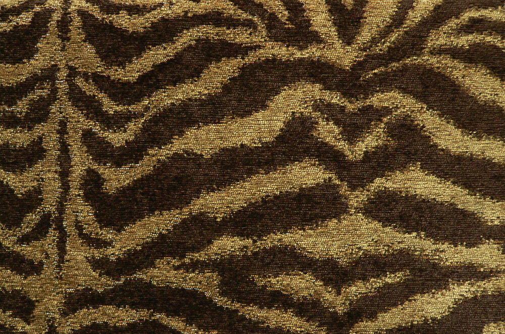 Drapery Upholstery Fabric Chenille Animal Print Tiger In Brown And Tan EBay