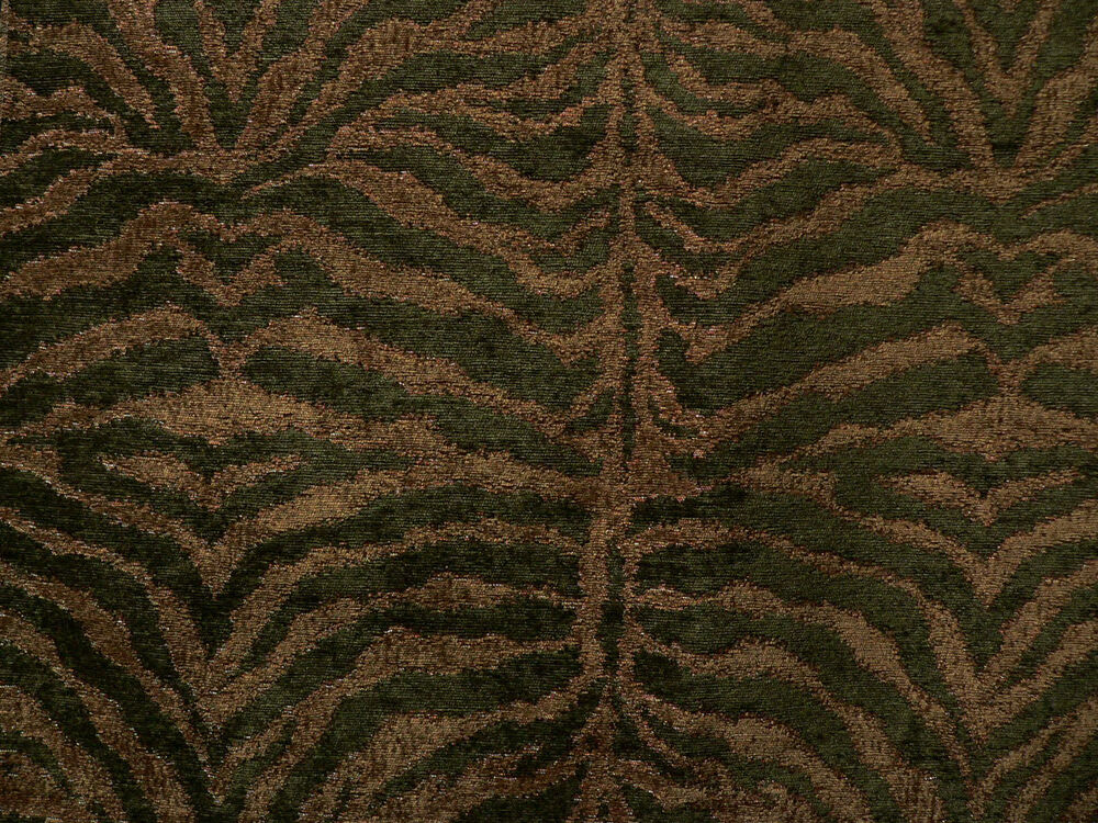 Drapery Upholstery Fabric Chenille Animal Print Tiger In
