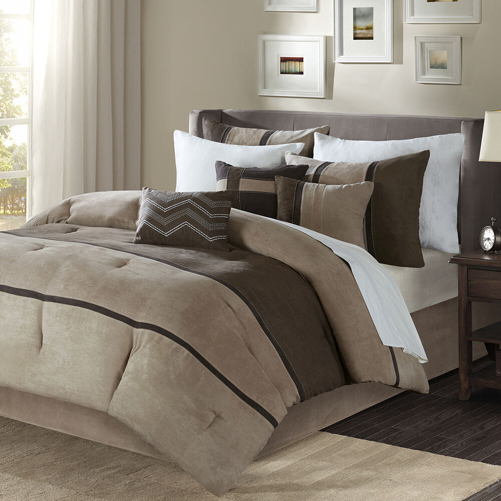 Beautiful 7 pc modern chic soft brown tan taupe stripe for Black white taupe bedroom
