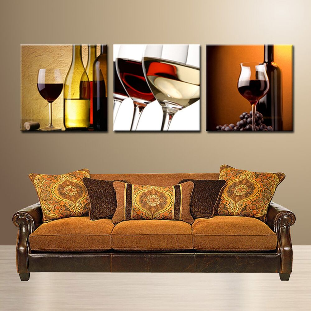 Wine Glass Bottle Ready To Hang Wall Art Print 3 Panel Mdf