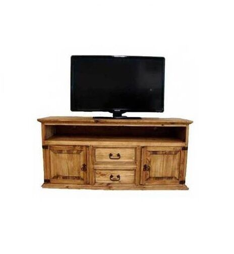 Rustic Tv Stand Console With Glass Doors Red