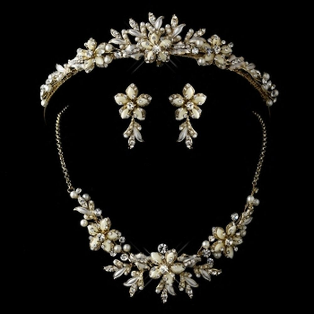Gold Ivory and Pearl Tiara Necklace & Earrings Jewelry Set Bridal/Quinceañera | eBay