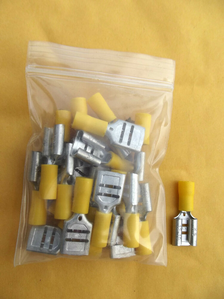 "20 PC (10-12)GAUGE 0.375"" YELLOW VINYL FEMALE ELECTRICAL ..."