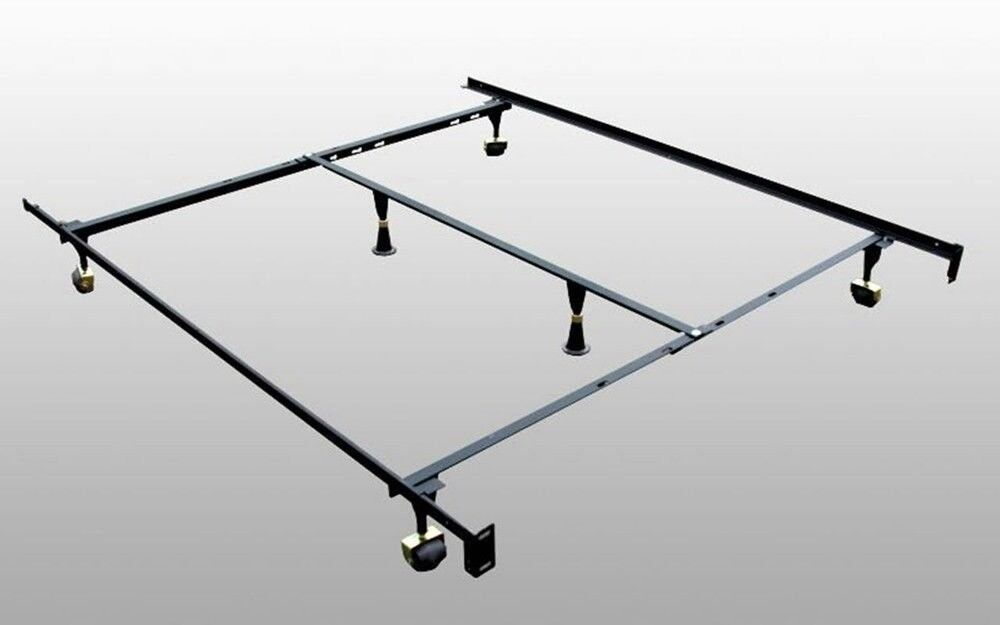 new adjustable metal king queen full twin size bed frame with middle support ebay