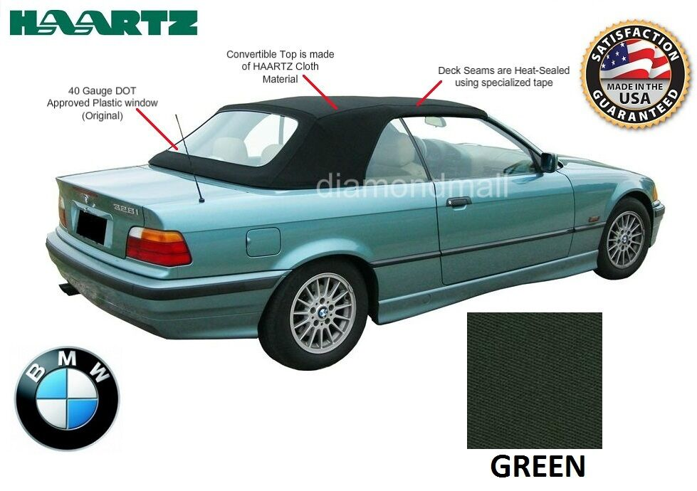 Bmw e36 3 series convertible soft top 1994 1999 green for 1999 bmw 323i convertible rear window