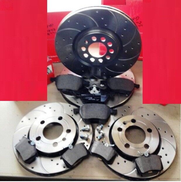 audi a3 s3 quattro 8l1 99 03 front rear drilled curved grooved brake discs pads ebay. Black Bedroom Furniture Sets. Home Design Ideas