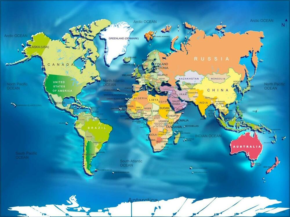 WORLD MAP W COUNTRIES GLOSSY POSTER PICTURE
