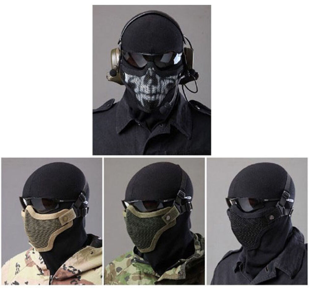 Tactical Paintball Strike Steel Half Face Mask Mesh Face Skull Mask for Airsoft | eBay