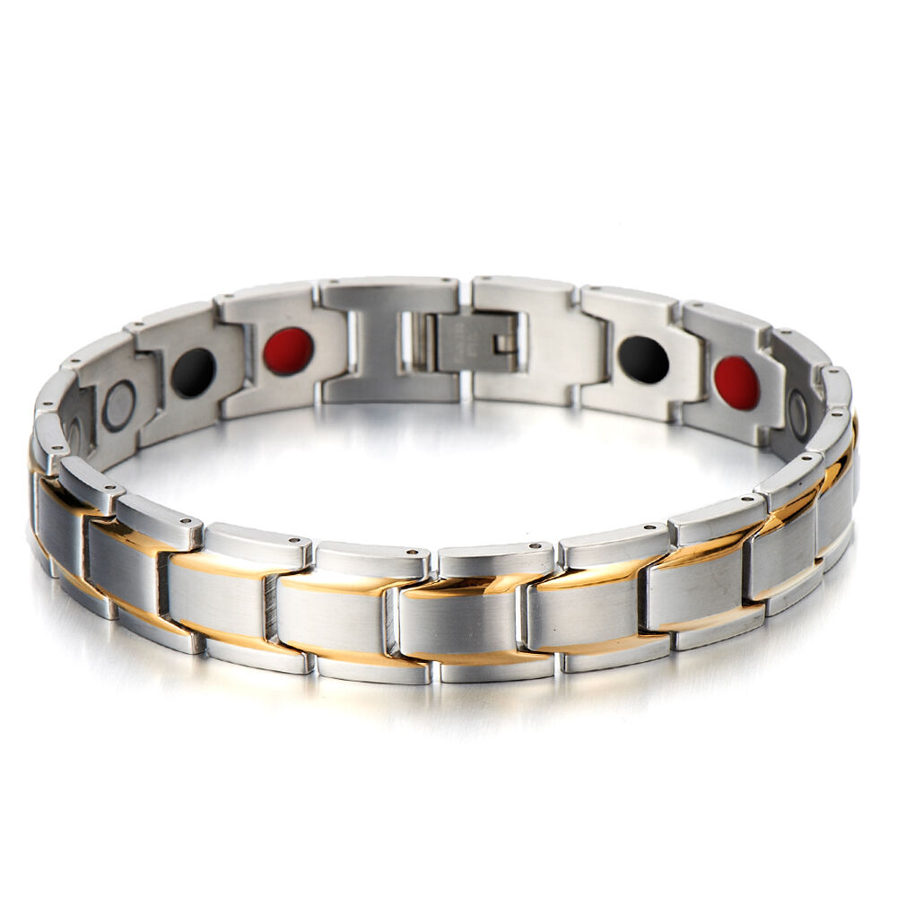 Gold And Silver Bracelets: Stainless Steel Mens Jewelry Magnetic Therapy Link