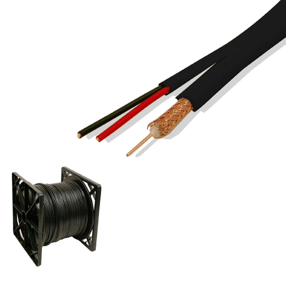 Security Camera Wire Tool : Black siamese security camera cable ft cctv rg dc