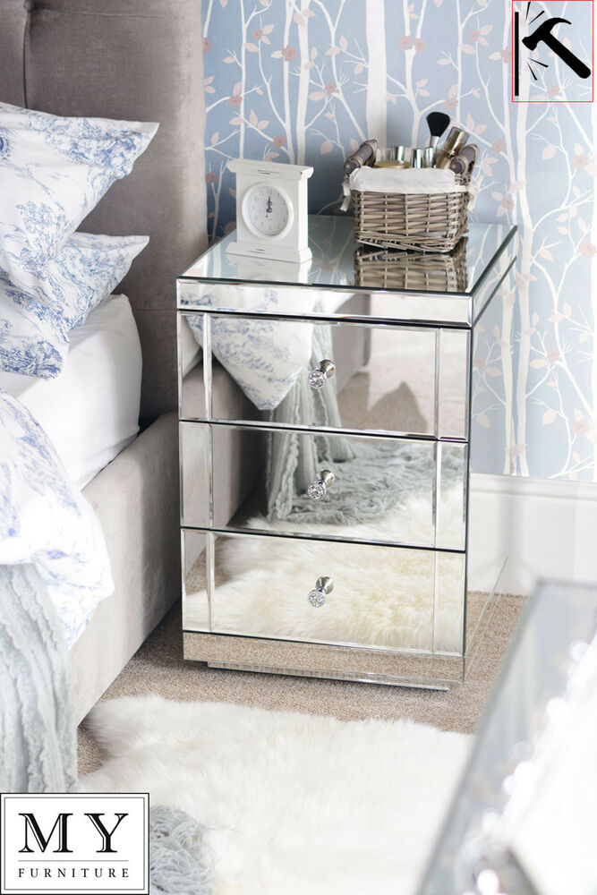 Toughened mirrored furniture bedside table cabinet 3 for Mirror bedside cabinets