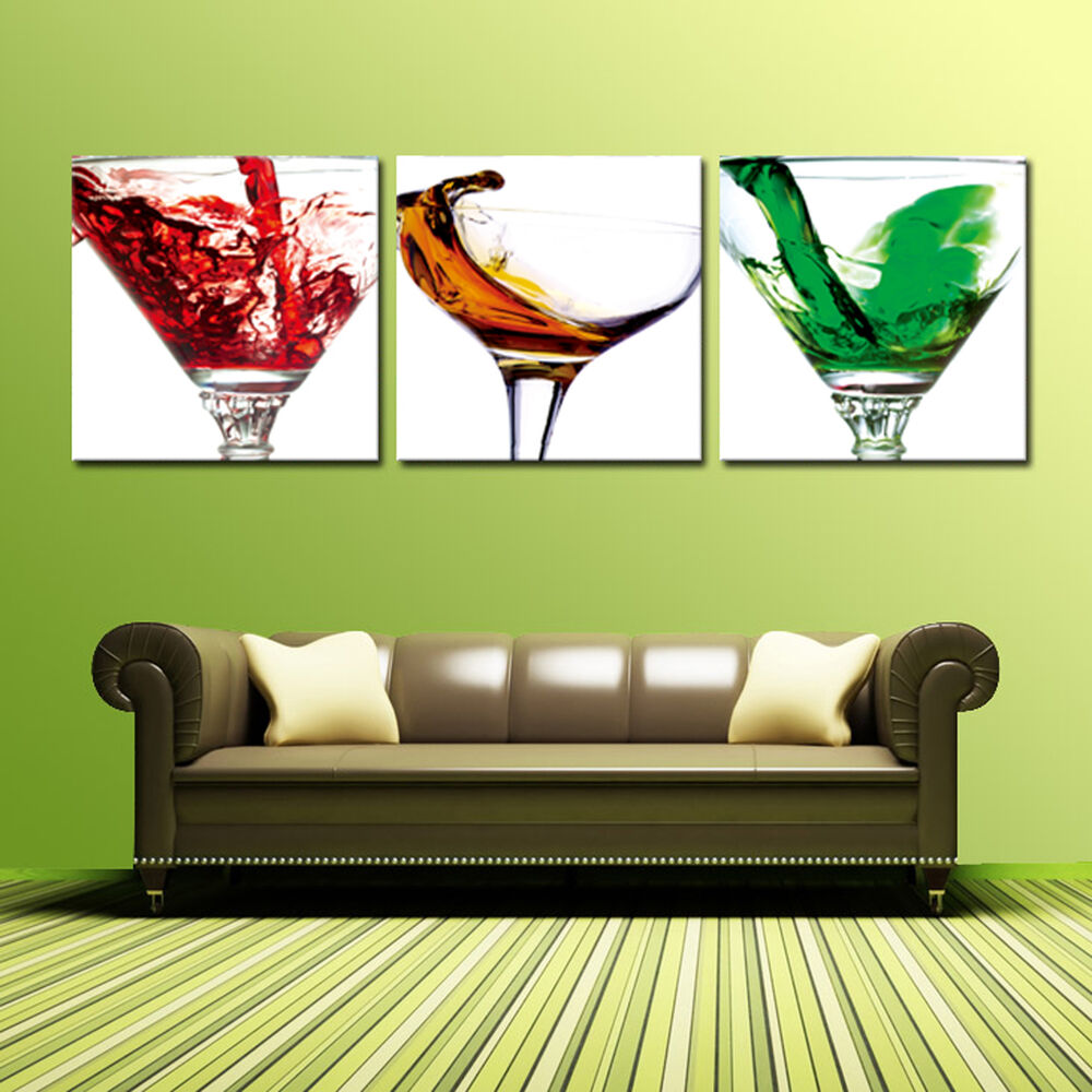 cocktail glass ready to hang 3 piece wall art mounted on. Black Bedroom Furniture Sets. Home Design Ideas