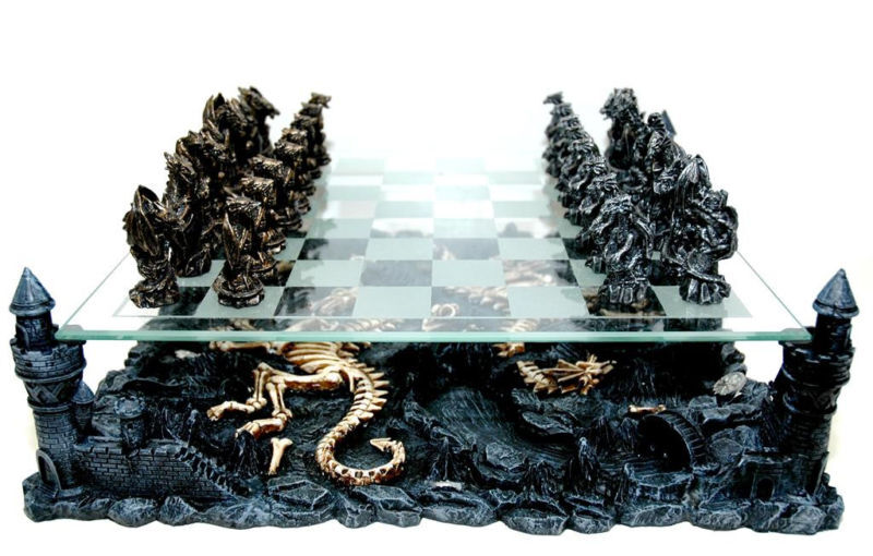 3d Dragon Chess Set Gold Pewter Tones Pieces Glass Board