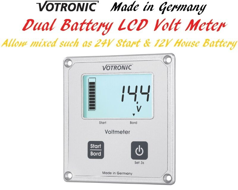 1000 Amp Battery Monitor : Votronic lcd dual battery volt meter monitor gauge v