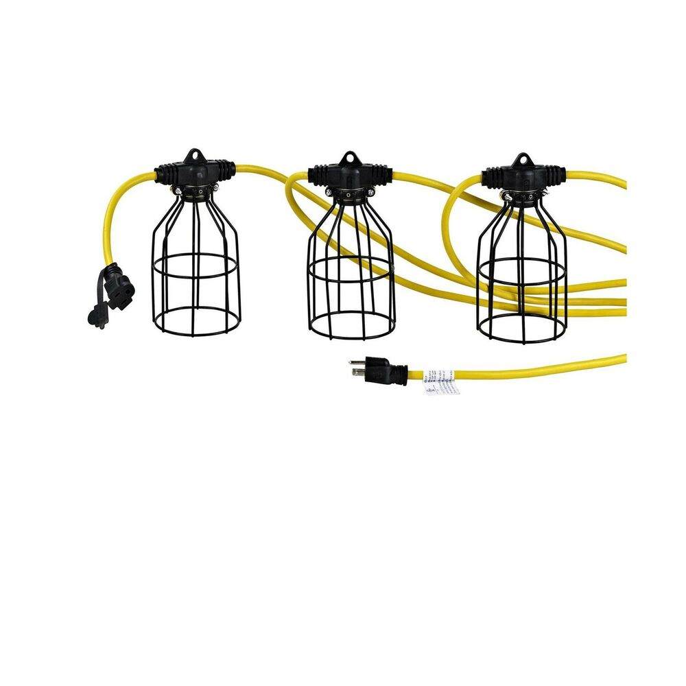 50 Foot Construction Temp Work Light String Metal Cage