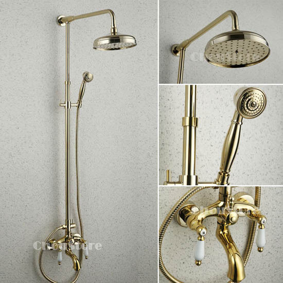 Polished brass gold bathroom 8 rain shower faucet set double ceramic handle 157 ebay for Polished gold bathroom faucets
