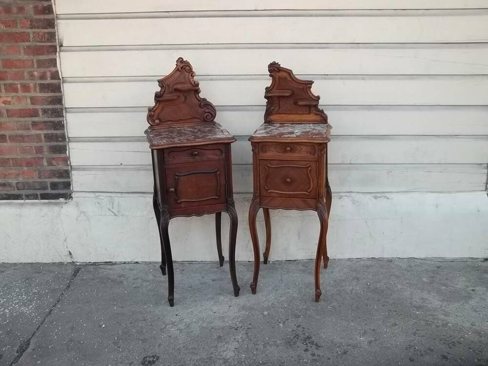 Carved antique walnut french marble top designer night stands dr81