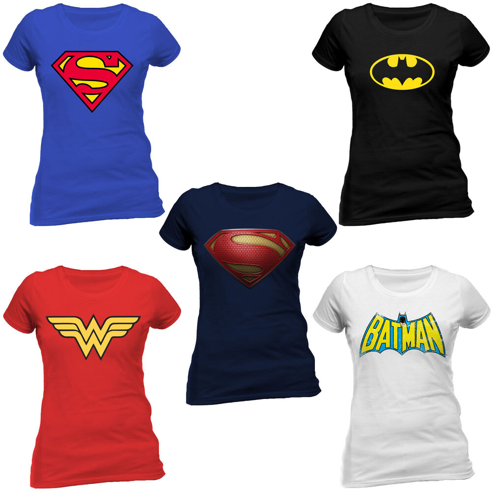 dc comics superhero superhelden logo t shirt figurbetont sexy fit frauen women ebay. Black Bedroom Furniture Sets. Home Design Ideas