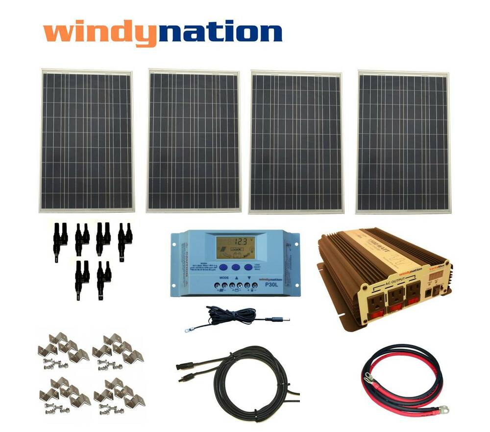 COMPLETE KIT 400 W Watt 400W Solar Panel + 1500W Inverter 12V RV Boat Off  Grid 617209854282 | eBay