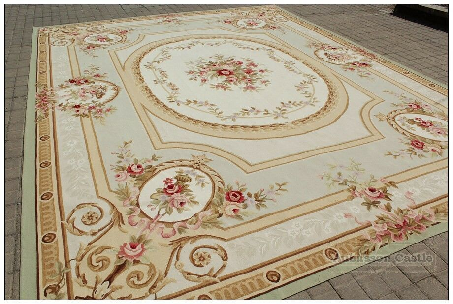 Shabby French Chic Aubusson Area Rug Subtle Green Ivory W