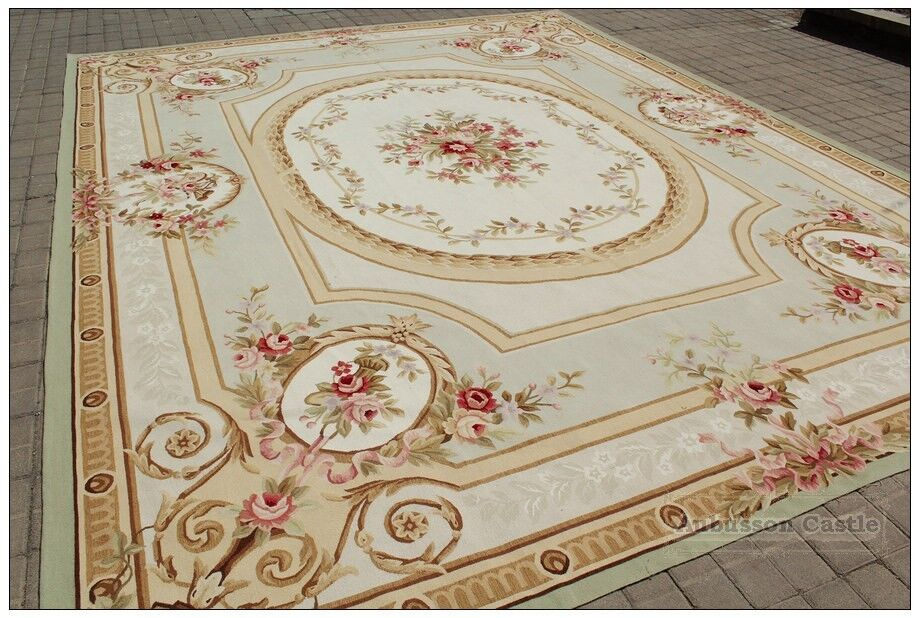Shabby french chic aubusson area rug subtle green ivory w for Tapis shabby chic