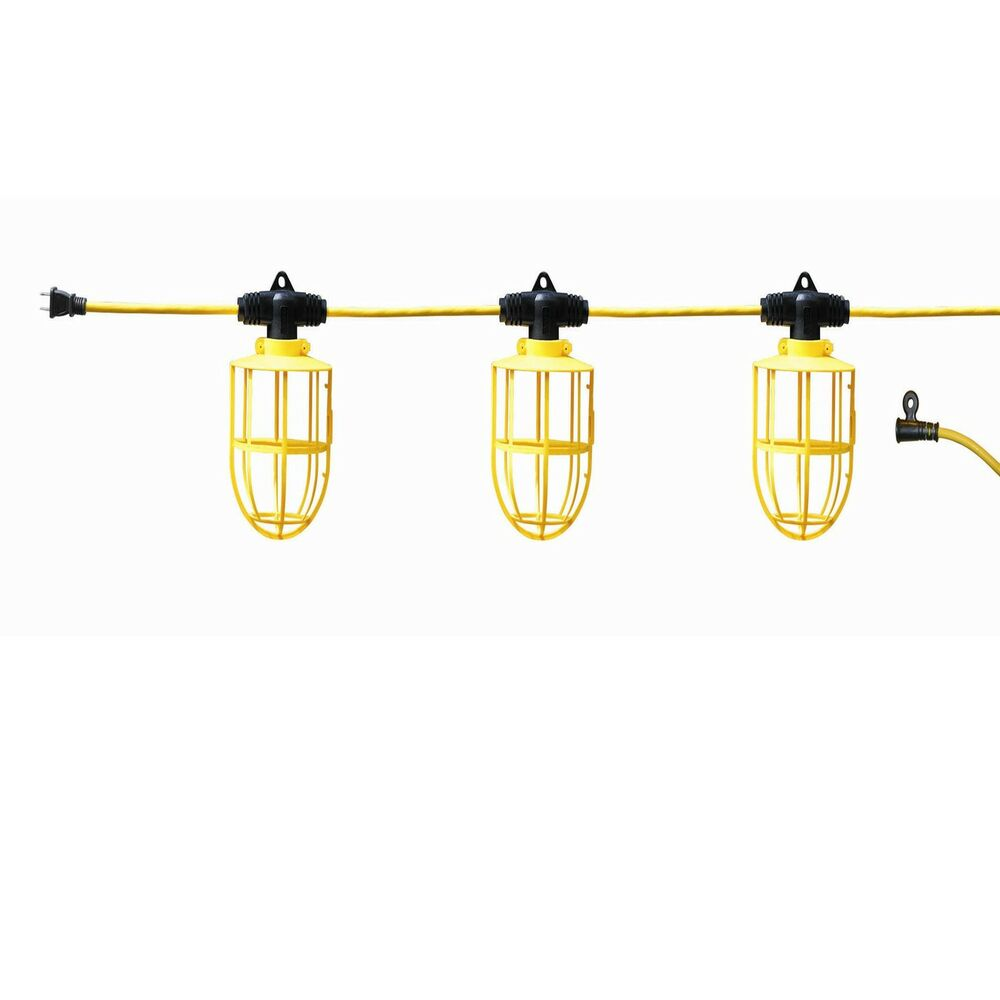 Construction Site String Lights: 100 Ft Temporary Construction Light Bulb String Lighting