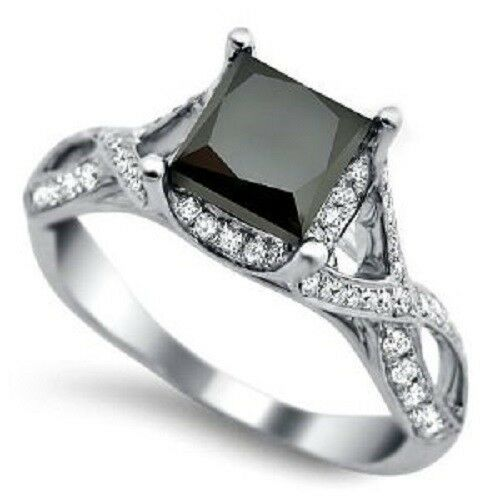 princess cut solitaire black diamond wedding ring 121 ct