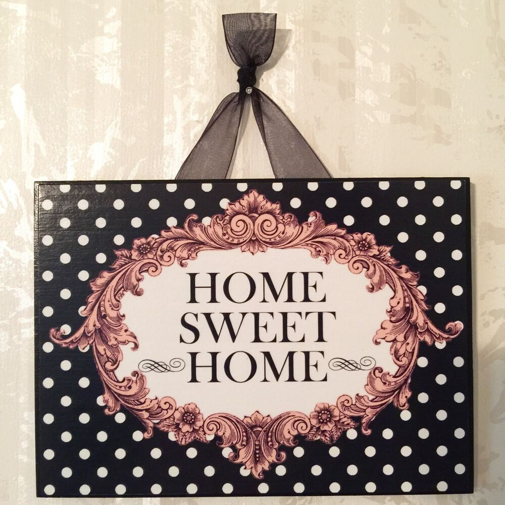 "Shabby ""HOME SWEET HOME"" Postcard Sign Plaque Black Pink"