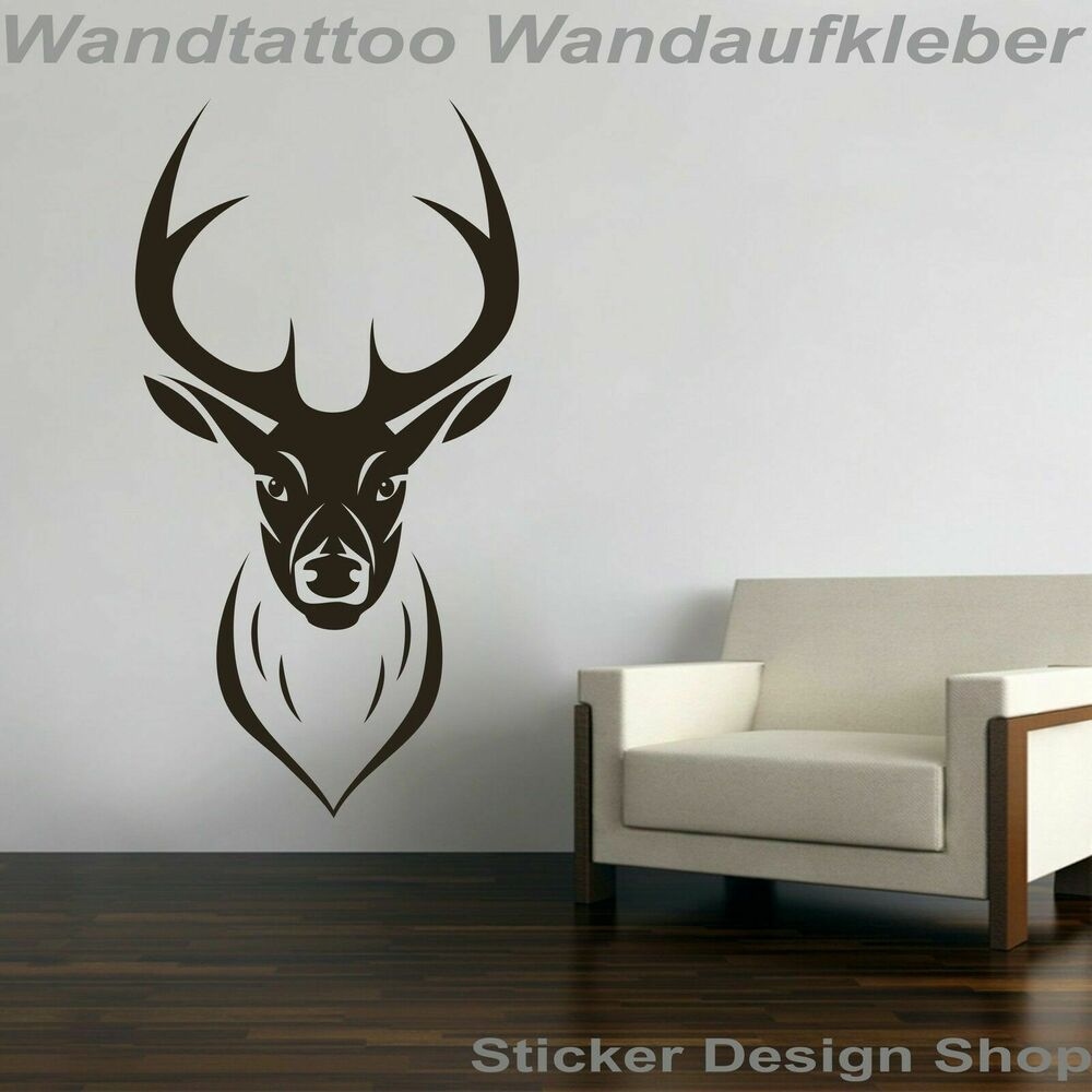hirsch hirschkopf geweih jagd j ger wandtattoo wandsticker. Black Bedroom Furniture Sets. Home Design Ideas