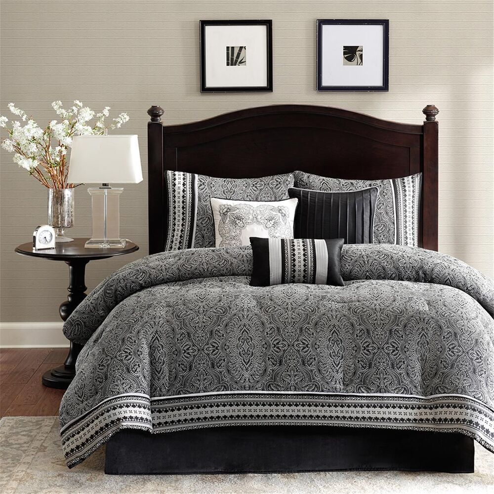 BEAUTIFUL ELEGANT RICH MODERN GREY BLACK WHITE COMFORTER