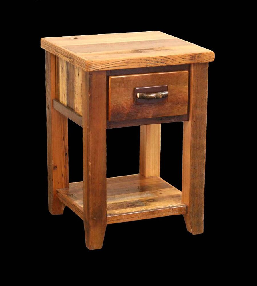 rustic country western nightstand cabin log wood bedroom furniture