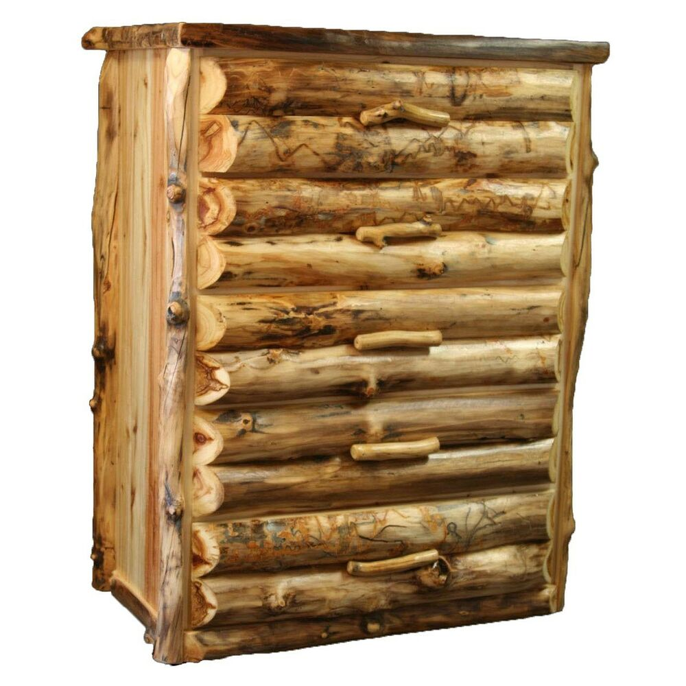 5 Drawer Log Dresser Country Western Rustic Cabin Wood Bedroom Furniture Decor Ebay