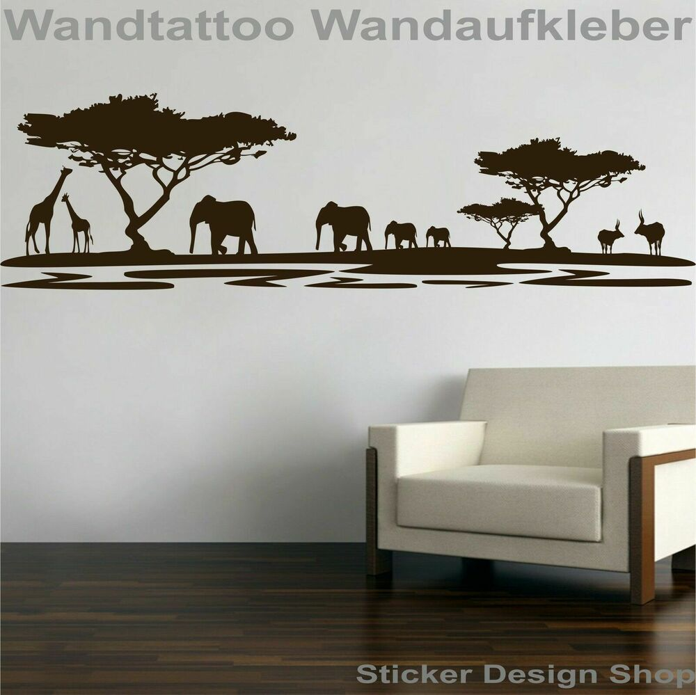 afrika landschaft safari wandtattoo wandaufkleber wohnzimmer aufkleber sticker ebay. Black Bedroom Furniture Sets. Home Design Ideas