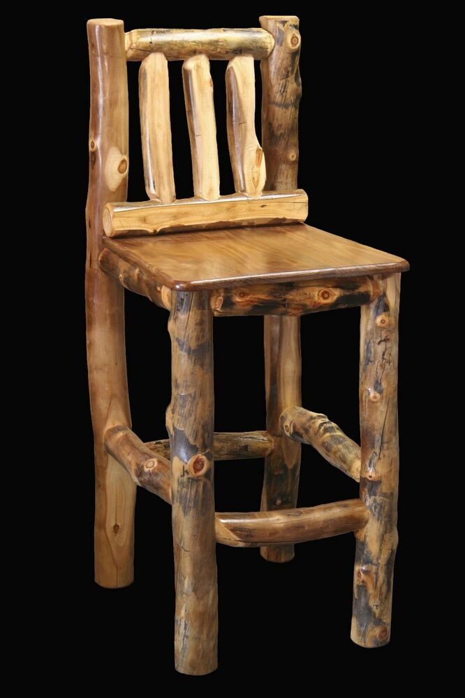 Log Chair Tall Barstool Country Western Rustic Cabin