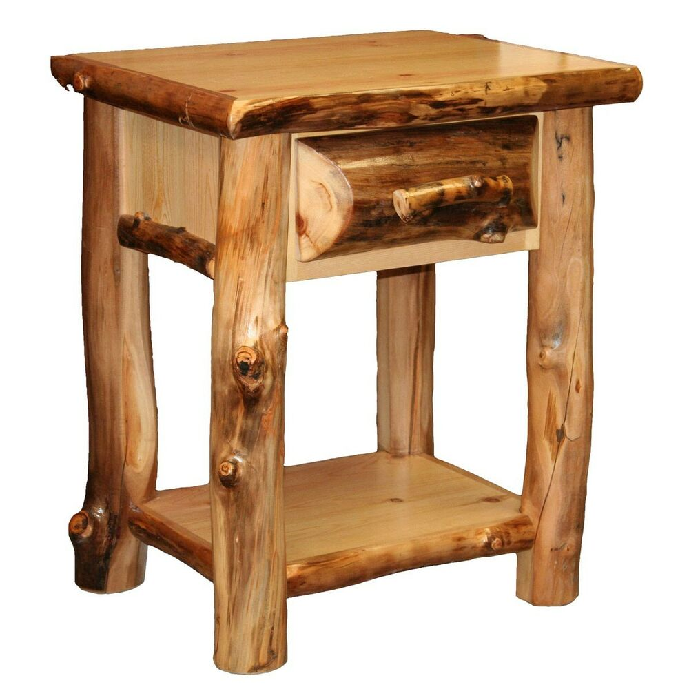 1 drawer log nightstand w shelf country western rustic for Furniture one