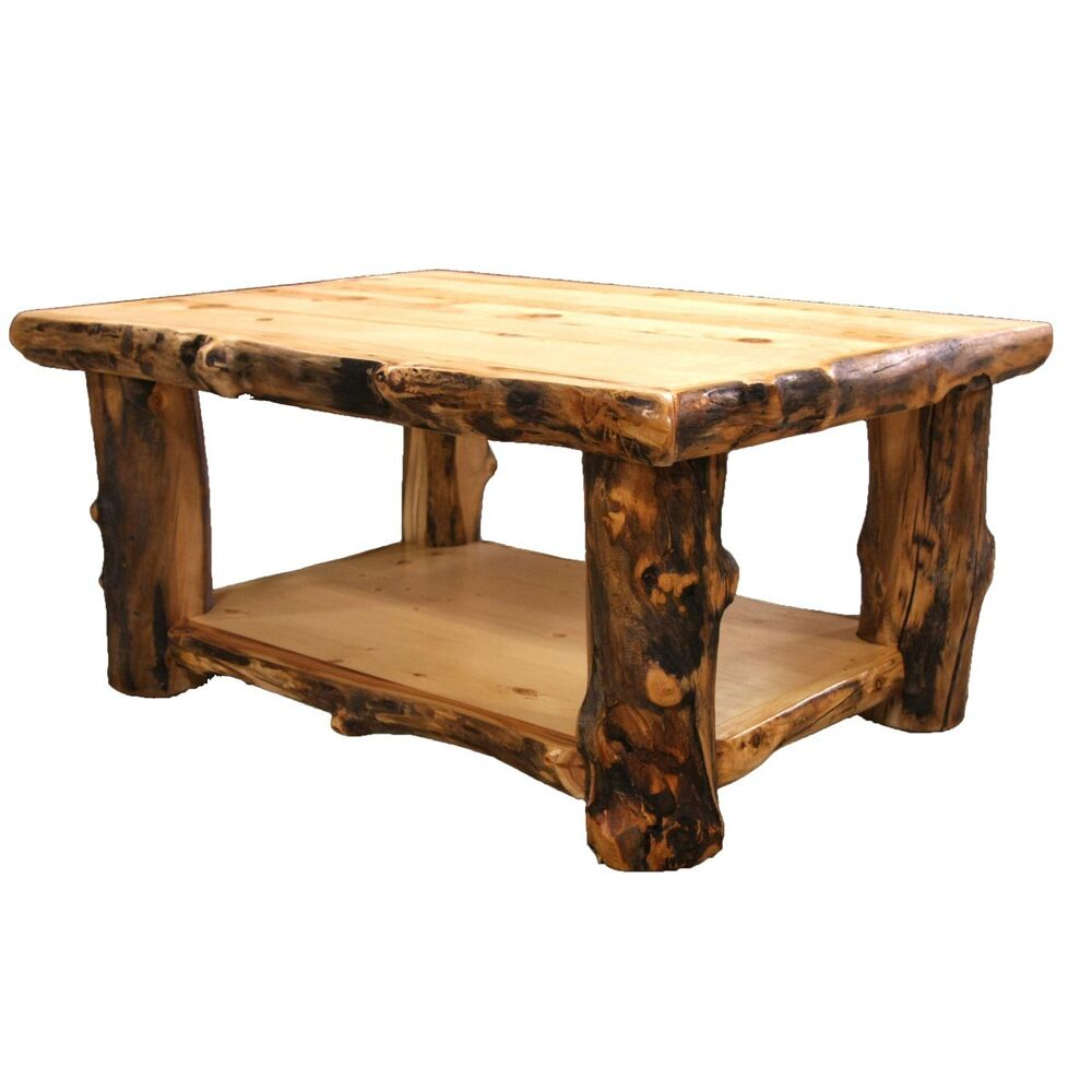 Log coffee table country western rustic cabin wood table for Wood living room furniture