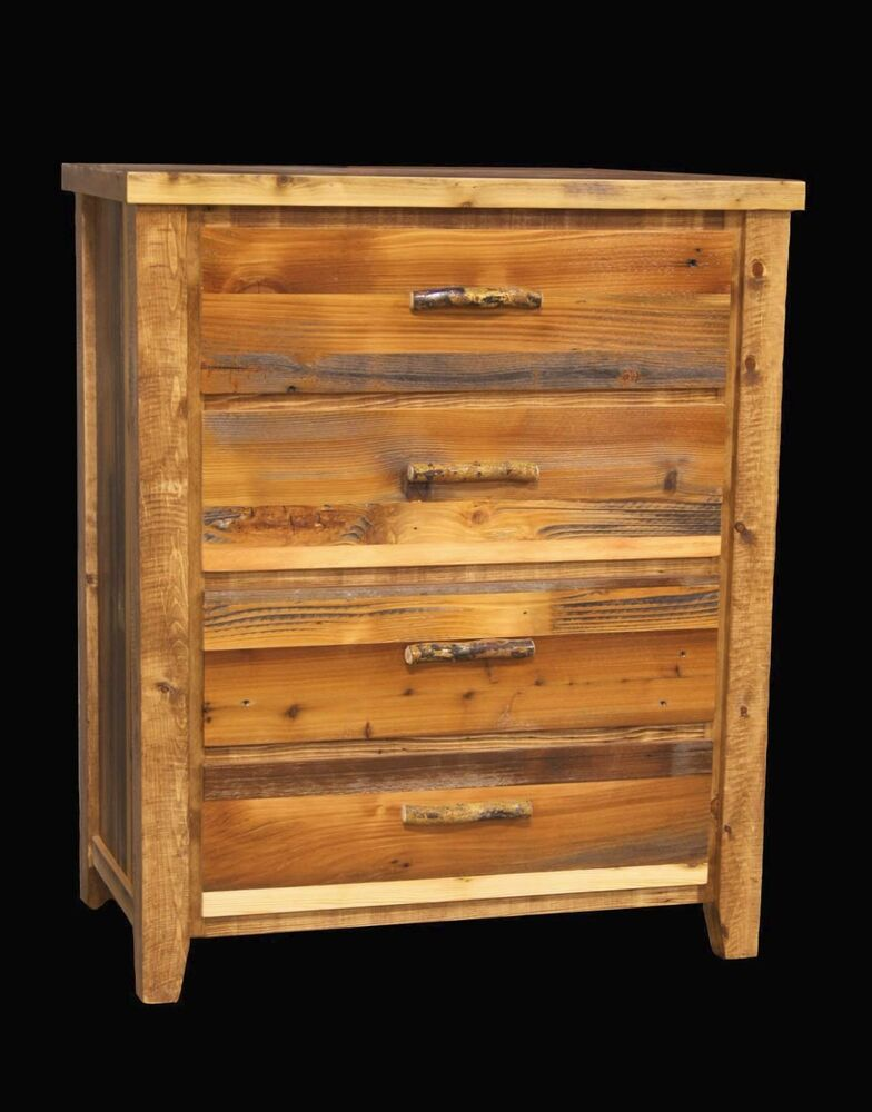 Western 4 Drawer Dresser Country Rustic Cabin Log Wood Bedroom Furniture Decor Ebay