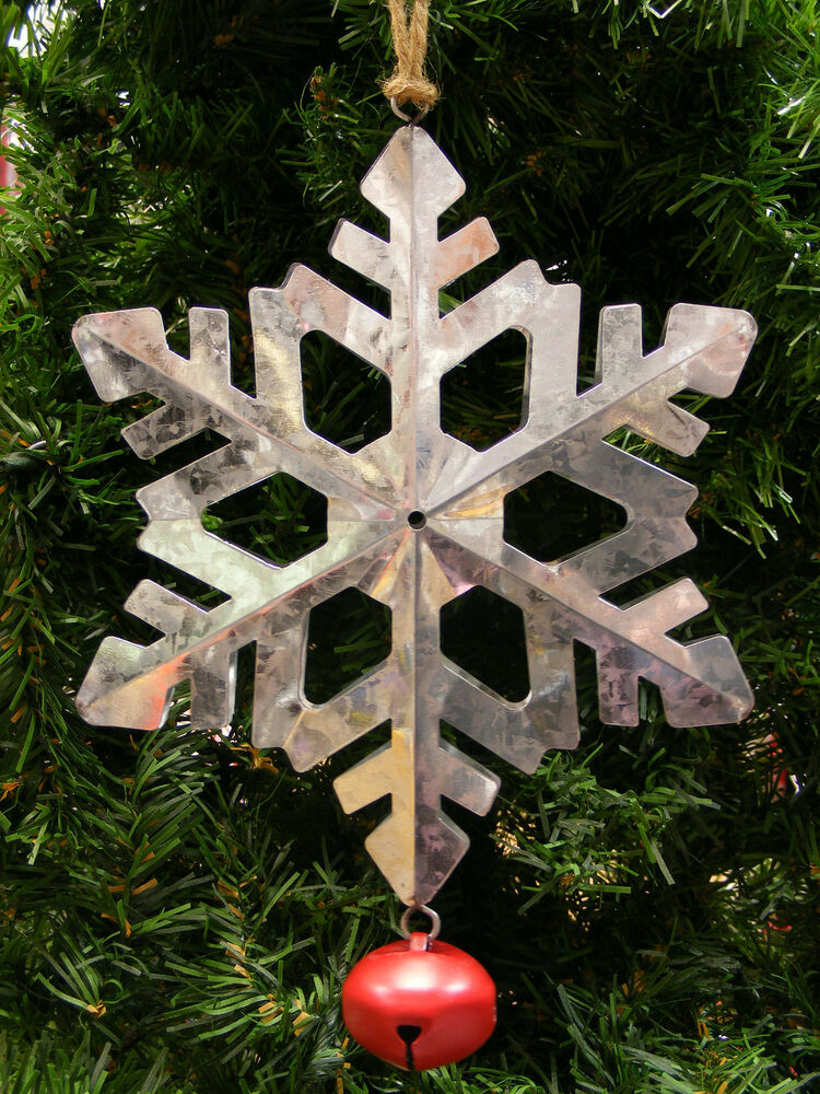Galvanized metal snowflake w red jingle bell christmas