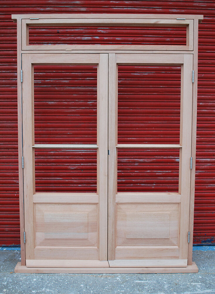 Hardwood 4 panels french doors with top light made to for Hardwood french doors
