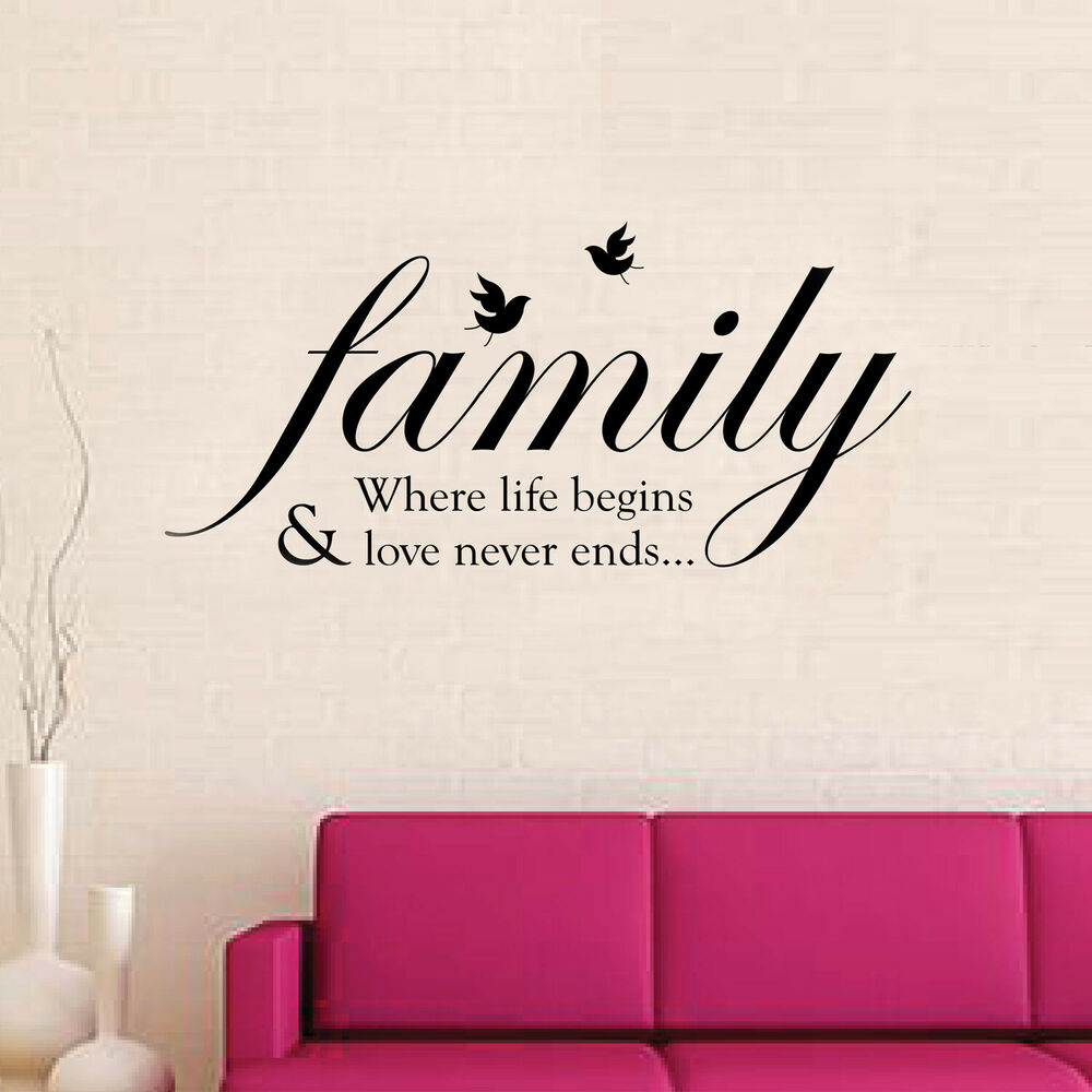 Family Wall Quote Stickers Mural Decal Paper Art