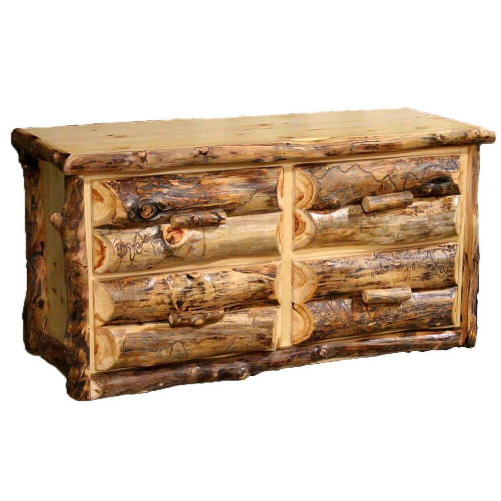 4 Drawer Log Dresser Country Western Rustic Cabin