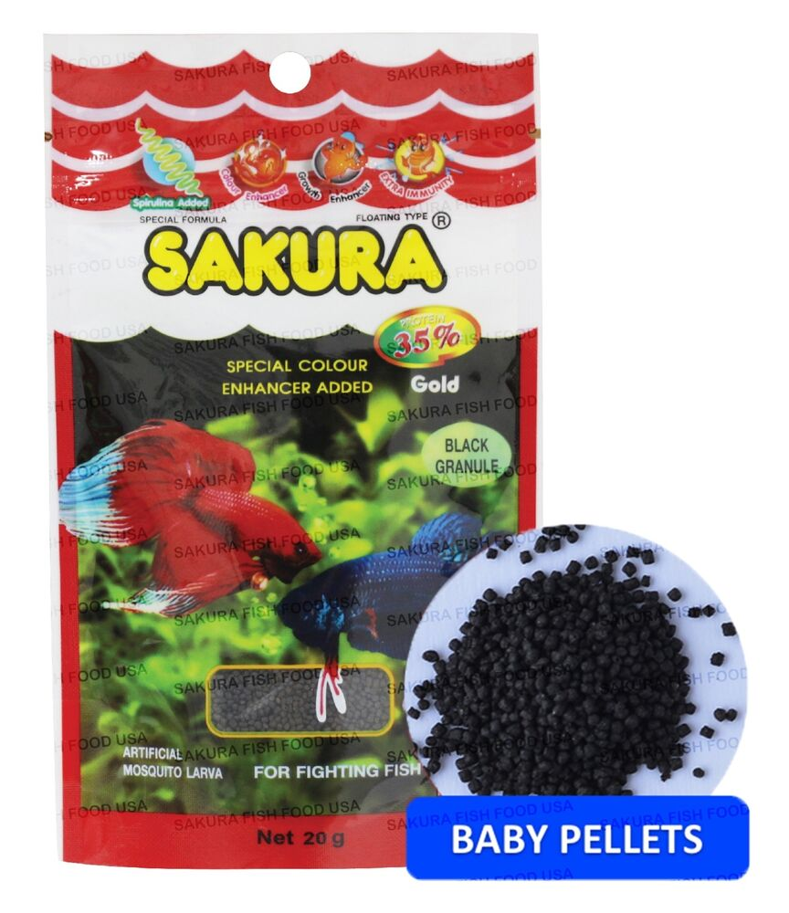 Sakura betta fighting fish food baby pellet floating for Baby fish food