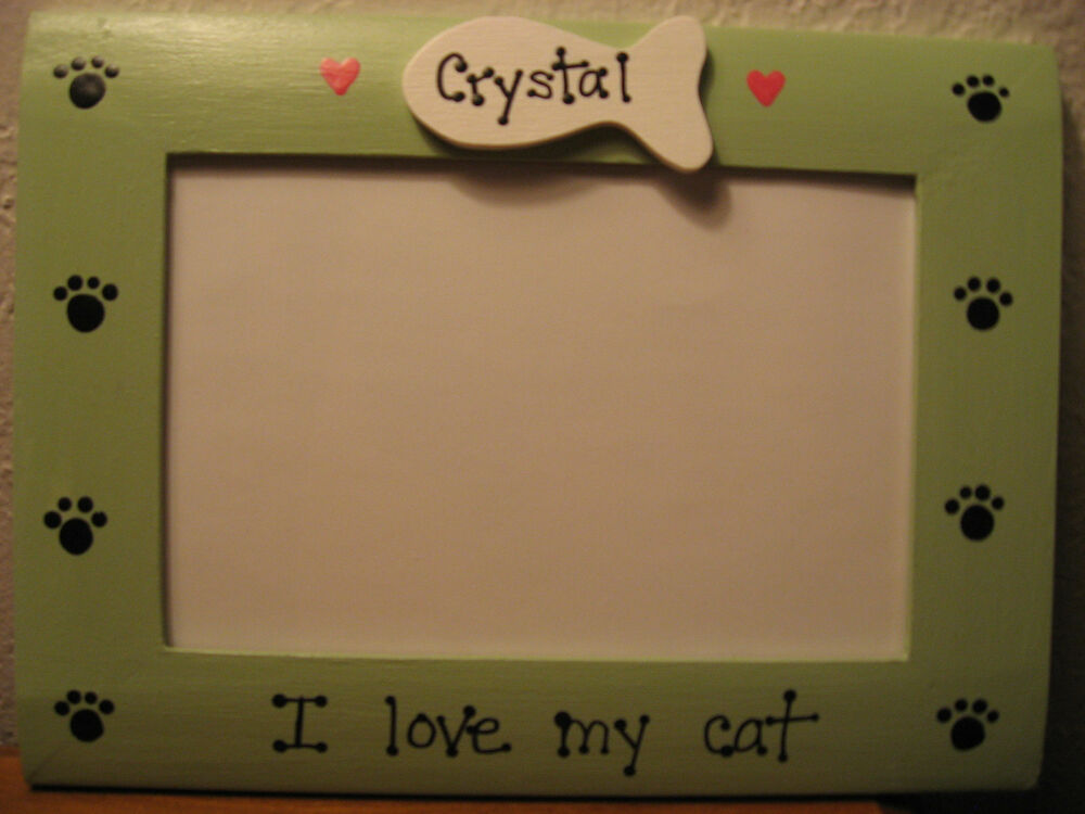 custom pet gift photo picture frame PERSONALIZED I LOVE MY CATS