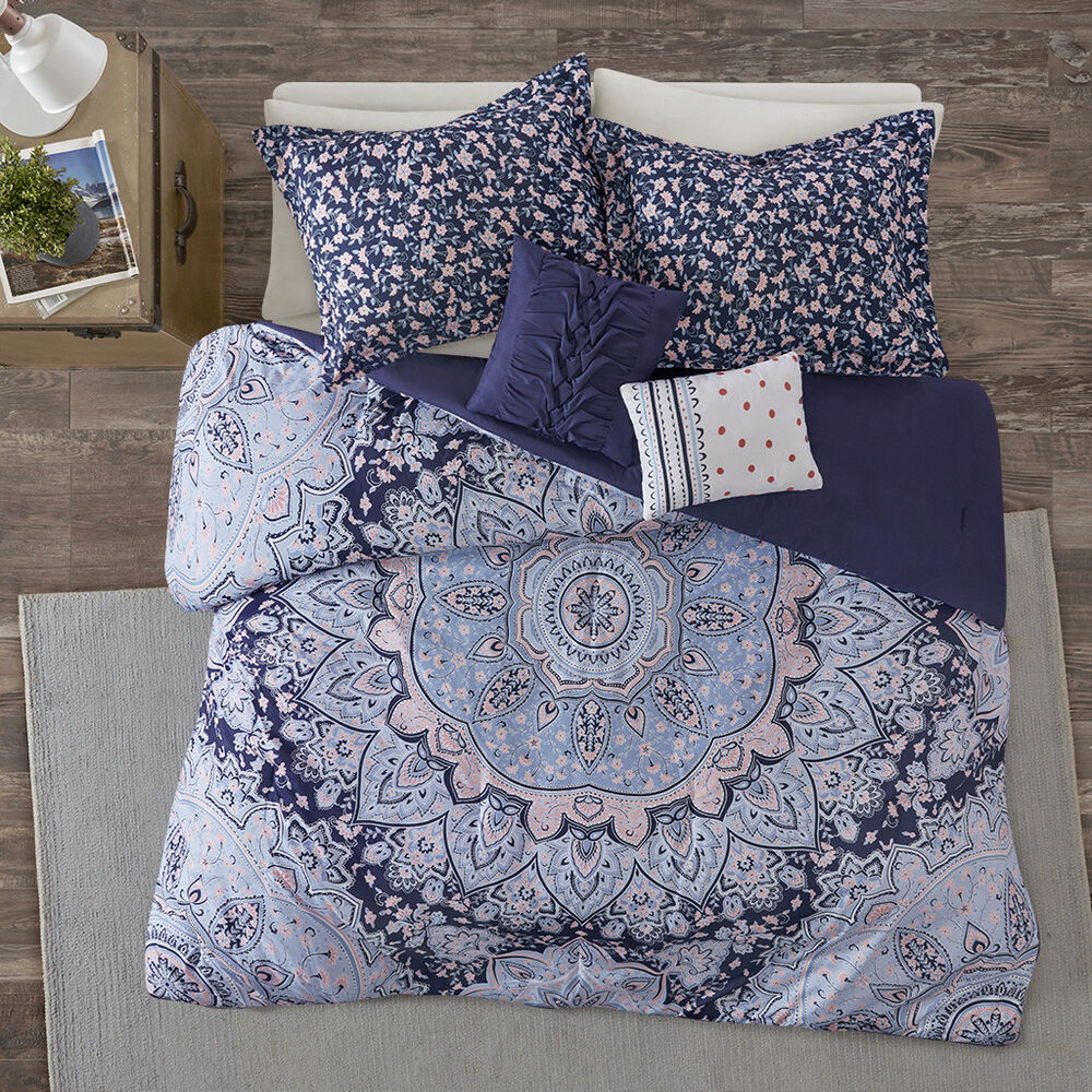 Beautiful elegant chic modern grey white blue tropical for Elegant white comforter sets
