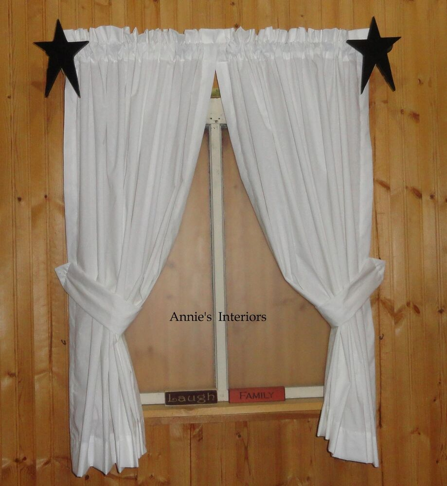 Country Primitive Muslin Curtains Tiers Cafes White Off